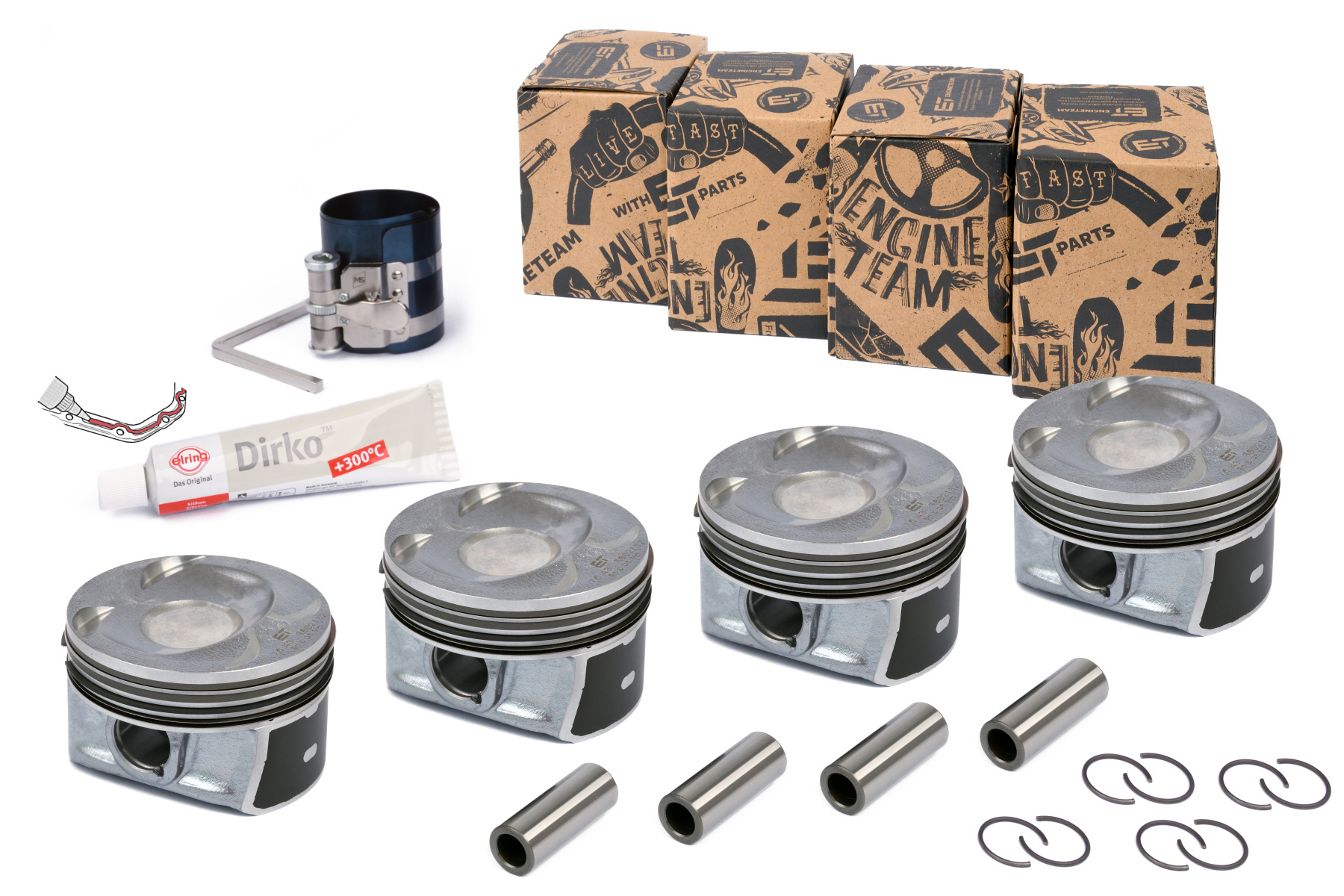 Pistons and piston rings repair kits by Kolbenschmidt and ET