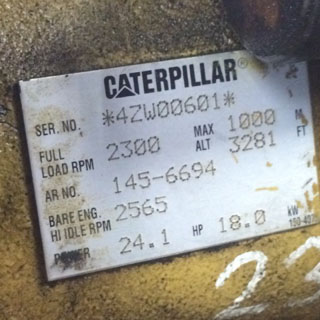 Caterpillar engine motor label