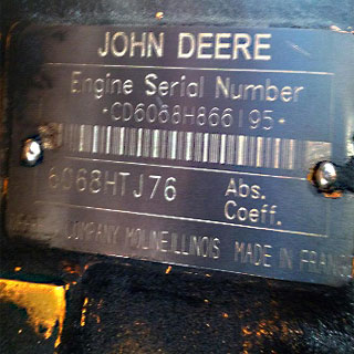 John Deere engine motor label