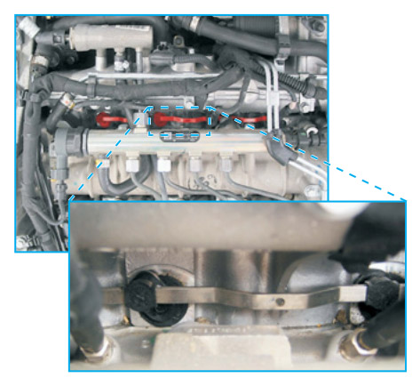 Lever arrangement at the intake manifold in the Opel Vectra