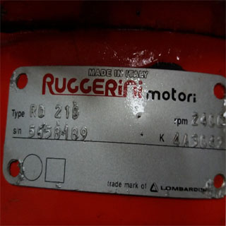 Ruggerini engine motor label