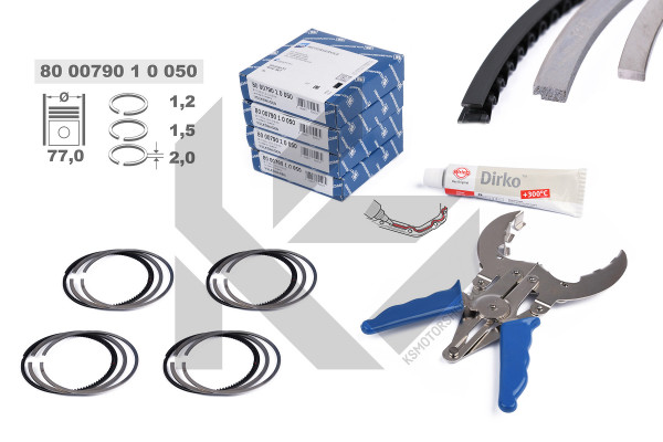 R1009650KS, Piston Ring Kit, Piston rings - repair kit for 1 engine, KOLBENSCHMIDT, 800079010050S , 03C198151M