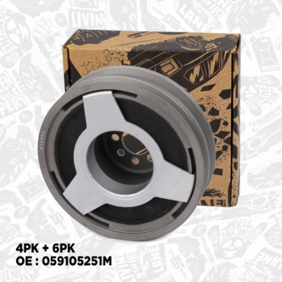 PC0009, Belt Pulley, crankshaft, Crankshaft belt pulley, ET Engineteam, Skoda VW Audi 2,5TDI 1995-2008, 059105251AC, 059105251M