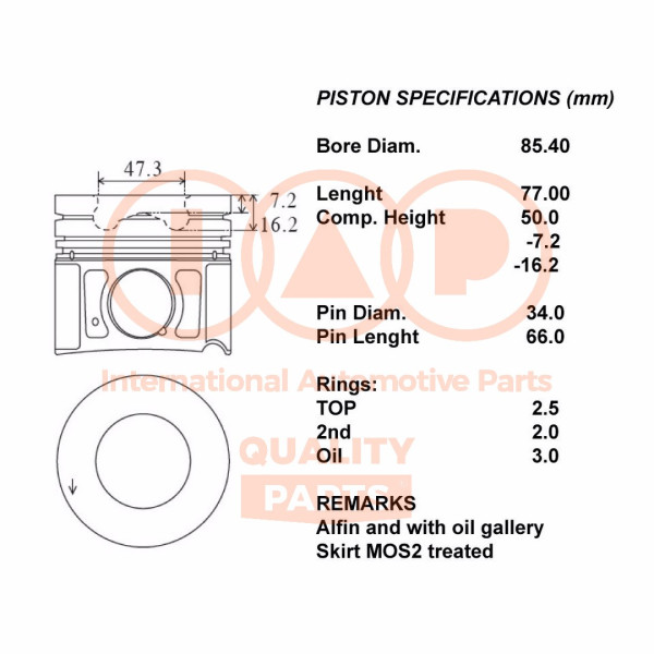100-07006, Piston, Complete piston with rings and pin, IAP QUALITY PARTS, Hyundai Santa FÉ Grand Santa FÉ Kia Carnival Sorento D4HB 2009+, 10007006, 100-07006, 230402F910, 23040-2F910, 234102F910, 23410-2F910, 234102F911, 23410-2F911, 234102F912, 23410-2F912, 681PI00107000